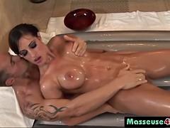 horny babe massaging stiff cock