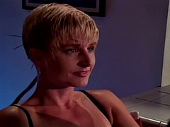Short Hair Blonde Temptress With TanLines