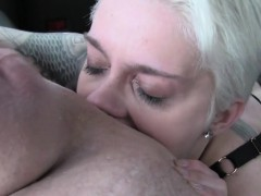 Short haired blonde rimming in fake taxi