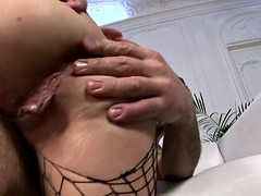 Lori Alexia on her fishnet outfit devours a big dick