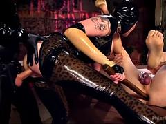 dark empress in latex maitresse madeline marlowe humiliates her cuckold