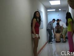 Shaved college girl fucks after party games in hallway