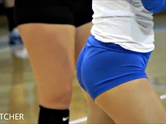 College Volleyball girls in super tight spandex shorts