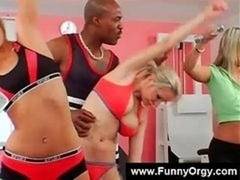 Blonde babes and plus black dudes in a gym