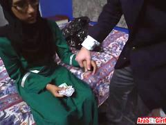 Taking chances with innocent Arab girl shows her sweet pussy