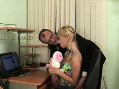 Playgirl is having threesome with dude and elderly teacher