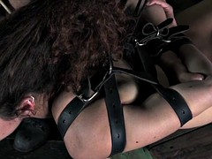 Hogtied sub punished with maledoms cane