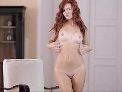 Perfectly shaped redhead babe Mia. Good breasts