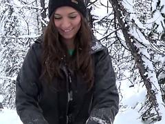 Pretty brunette snowboarder enjoys giving a blowjob
