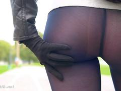 Jeny Smith fashion black pantyhose flashing in public place