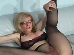 Naughty babe in panties jerks her sexy feet and widens hips