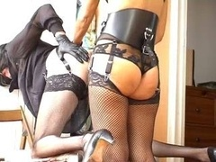Crossdresser tush getting down and dirty with strapon