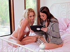 Gorgeous lesbians watching porn online