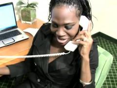 Ebony shemale secretary strips off while having a phone sex