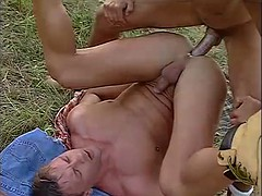 Group fucking in the field