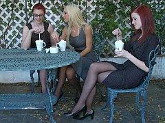 ドレス, 眼鏡, ヒール, レズビアン, 穴開きパンティ, 現実, 赤毛, ティーン