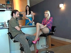 Blonde slut in pantyhose gives him a cumming footjob