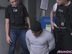 Big Ass Cops Maggie Green And Joslyn Capture Purse Snatcher And Ride His Black Cock