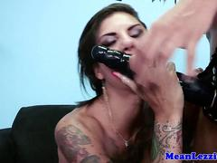 Busty lezdom squirts after using vibrator