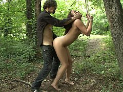 Tied and fucked in the wood
