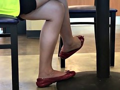 Candid Seated dipping and Dangling in red flats