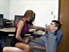 Amazing secretary gives hot femdom handjob