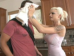 Skinny busty teen Delta fucks in the kitchen