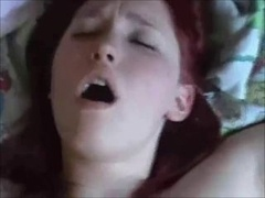 Large hooter redhead creampied on actually homemade