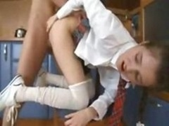 Attractive blonde gets her booty plugged by dong & knob & then sucks