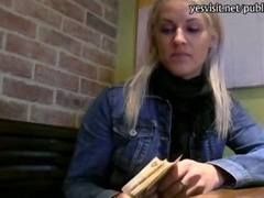True dilettante innocent blondie Czech girl cum bucket banged in the coffee shops toilet for some money