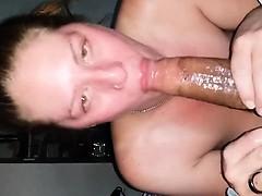 Bright woman sucking BBC properly