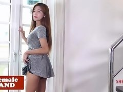 Solo ladyboy stripping and titplaying