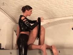 Hot German dominatrix enjoys punishing her man with