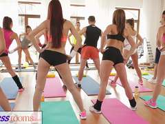 FitnessRooms Yoga chicks get creampied in a yoga class