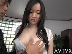Japanese milf with a big hot booty fucked standing up