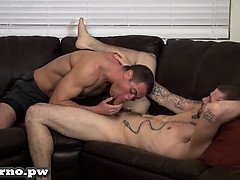 Jason licks ass friend Chris with a big dick .