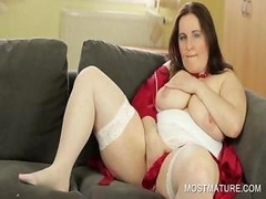 Stockinged mommy showing sizeable breasts