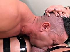 buxom shemale anal dominates horny man bareback on sofa