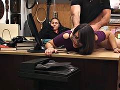 couple sluts tried to steal and pounded by pawn keeper