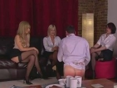 Three Dommes In Stockings Humili