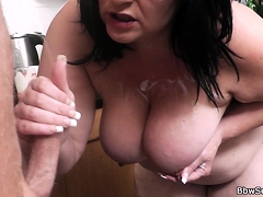 Husband caught cheating with busty brunette