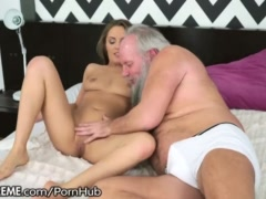 Old Mans Birthday Sex with Babe Riding his Cock
