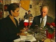 Elegant Italian Grown-up cheating husband on restaurant