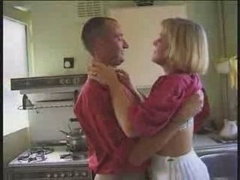 Mature kitchen make love