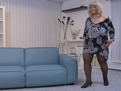 Busty mature BBW toying her pussy