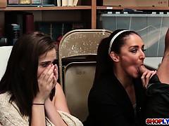 Peyton Robbie watch her mom Sheena suck cock