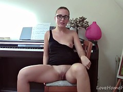 Teen with glasses and high heels masturbates