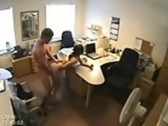 Invisible security-cam office sex