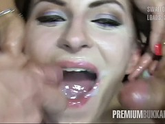 premium bukkake - milena swallows 50 huge mouthful cumshots