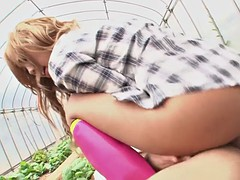 asian city girl rara is fucked by country boy in greenhouse